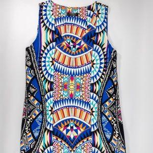 Renee C. Geometric Multicolor Sleeveless Dress